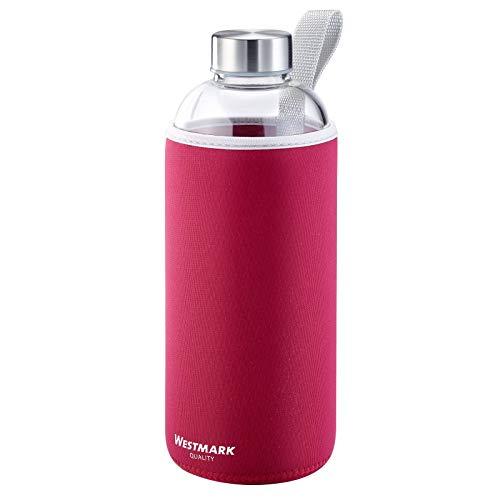 Westmark Trinkflasche, aus Glas mit Aufdruck, inkl. Schutzhülle,...