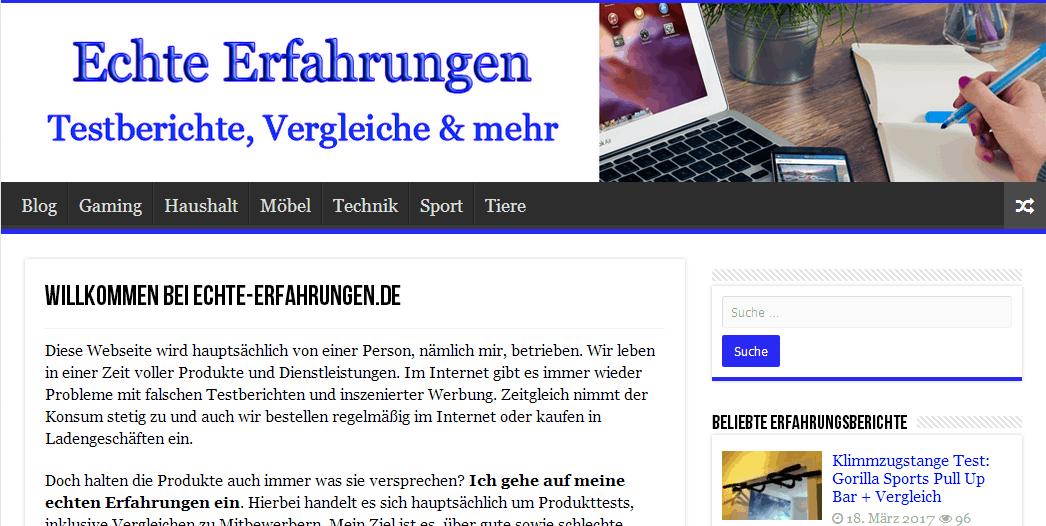 Meine Blogs 2017 - Vorstellung von Echte-Erfahrungen.de